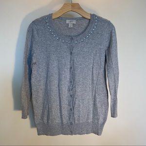 AnnTaylor Loft Factory small grey cardigan sweater